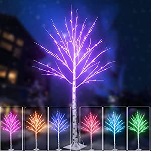 lighted purple halloween birch tree 16 colors changing christmas tree light remote 5ft artificial warm white branch lights plug in for indoor outdoor holiday porch bedroom decoration silk flower arrangements