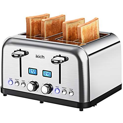 IKICH Toaster Edelstahl, 2 LED Display Mit Restzeitanzeige, 6 Bräunungsstufe + Auftau- & Aufwärmfunktion, 1750W Toaster 4 Scheiben, Zentrierfunktion, Automatik-Toaster, Krümelschublade