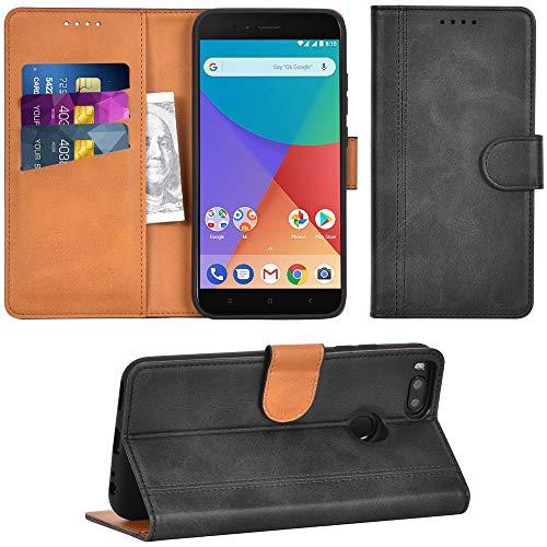 Adicase Xiaomi Mi A1 Hülle Leder Wallet Tasche Flip Hülle Handyhülle Schutzhülle für Xiaomi Mi A1 / Mi 5X (Dunkelgrau)