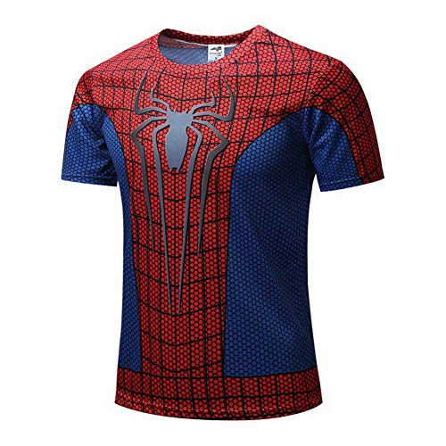 HOOLAZA Avengers Super Heroes Kurzarm Kompressions T Shirt Herren Joggen Motion Short Shirt, A5, M