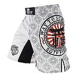 Gimnasio desgaste troncos MMA Hombres de adulto Pantalones cortos de combate libre resistente al desgaste Sanda Muay Thai Boxing Lucha formación taekwondo ropa blanca ( Color : White , Size : 3XL )