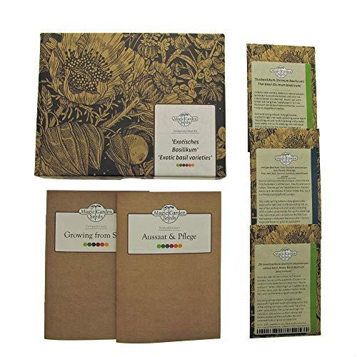 Exotisches Basilikum - Samen-Geschenkset mit 3 asiatischen Basilikum-Sorten mit außergewöhnlichem Aroma