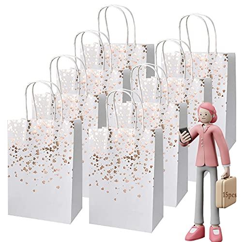 Bolsas de Regalo, 15 pcs Bolsas de Papel con Asas, Bolsa de Regalo Kraft con Asas Bolsas Papel Kraft para Fiestas, Ceremonias de Graduación, Bodas, Aniversarios, Navidad etc (Oro rosa)