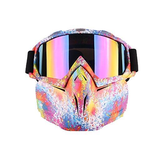 Eoncore Motorcycle Goggles Mask Detachable, Windproof Protect Padding Helmet Sunglasses Ski Goggles Road Riding UV Motorbike Glasses (Graffiti)