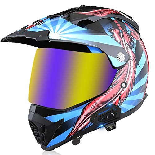 Skeby Bluetooth Motorbike Crash Full Face Helmet,Off-Road Helmet Long-Distance Motorcycle Bluetooth Rally Helmet Men and Women Four Seasons Full Face Helmet,DOT/ECE Approved