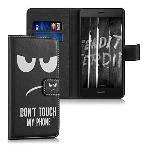 kwmobile Funda para Huawei P9 Lite - Carcasa de Cuero sintético con diseño Don't Touch my Phone - Case con Tarjetero