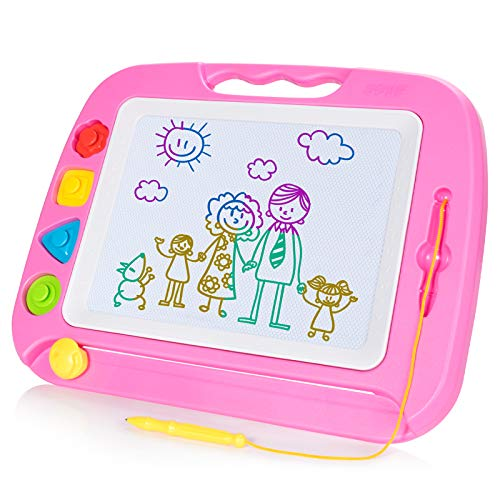 SGILE Pizarra Magnética Infantil, 42x32cm Grande Magnético Pintura de la Escritura Doodle Sketch Pad, Juguetes para Niños Infantiles, Rosa