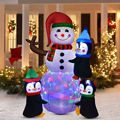 YQing 183cm Bonhomme de Neige de Noël Gonflable Noël géant Bonhomme de Neige Décoration de fête de Famille Décoration de Jardin Pelouse Faveurs Intérieur Extérieur Gonflables