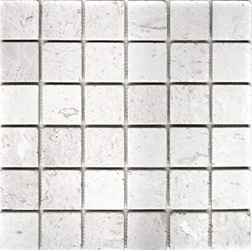 Mosaik Fliese Kalkstein Naturstein weiß Colonial Limestone MOS29-49048