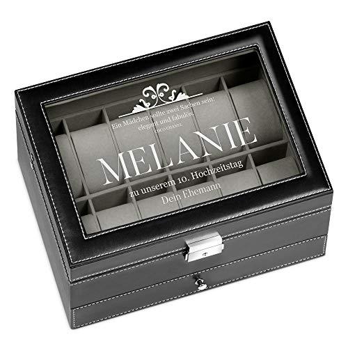 Murrano Uhrenbox mit Gravur für 12 Uhren & Schmuck - 30x20x13cm - Uhrenkasten aus Kunstleder - Schwarz - Geschenk für Damen - Hochzeitstag