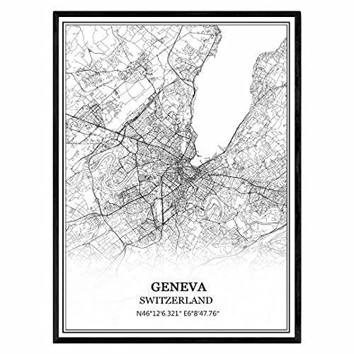 ジュネーブスイス地図ウォールアートキャンバス印刷ポスター アートワークフレームなし地図お土産贈り物室内装飾