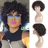 UDU Pelucas cortas de cabello humano rizado para mujeres negras, peluca delantera brasileña Bob None Lace con flequillo (rizado profundo)