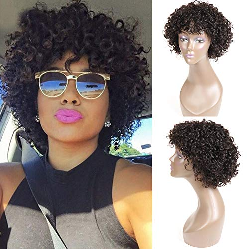 Short Curly Human Hair Wigs for Black Women, UDU Brazilian Deep Wave None Lace Front Wig with...