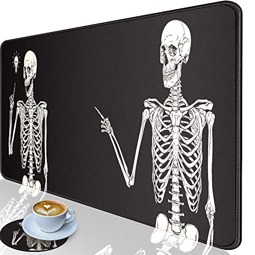 Desk Pad-Large Gaming Mouse Pad with Stitched Edges, Extended Computer Mouse Pad Water-Resistant Writing Pads with Non-Slip Rubber Base 31.5 x 11.8 in, with Coasters(Skull Skeleton Black Background)