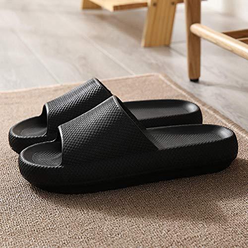 LLGG Sandalias de Zapatillas de Masaje,Arrastre de Arena de baño de baño, Aumento Antideslizante Silfombras de Silencio-Negro_43-44,Zapatillas de Playa de Fondo Suave