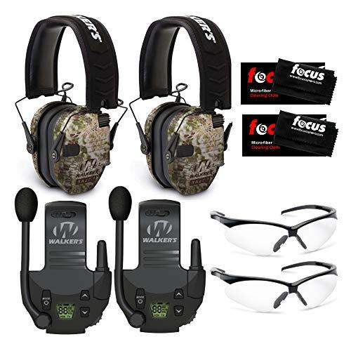 Walker's Razor Slim Electronic Shooting Muffs (Kryptek) 2-Pack with Walkie Talkies, Shooting Glasses, and Focus Cleaning Cloths Bundle (8 Items)
