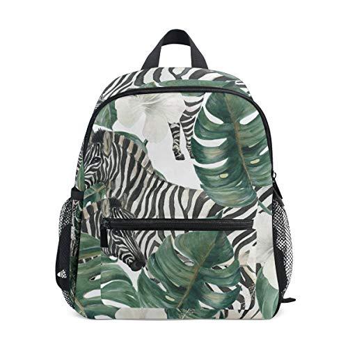 Mini Kids Rugzak Dagtas Zebra Naadloos Patroon Tropische Bloem Palm Leaf Pre-School Kleuterschool Peuter Tas voor Reizen Meisjes Jongens