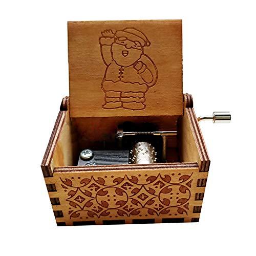 LOVEYue Decorazione Natalizia, Carillon A Manovella in Legno Classico di Babbo Natale Collezione di...