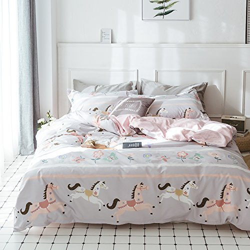 ORoa Cotton 100 Duvet Cover Queen Full Size Cartoon Animal Horse Butterfly Print for Kids Girls Toddler Teen, Soft Cozy Floral Horse Geometric Gingham Plaid Striped Bedding Sets Pink Grey