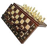 Odoukey Tablero de ajedrez Juego de ajedrez magnético con el ajedrez para niños y Adultos Plegable de Madera y Juego de Mesa portátil para Viajes de Madera de Color 44 * 44cm