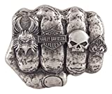 Harley-Davidson Men's Fist Forward Belt Buckle, Antique Nickel Finish HDMBU11417