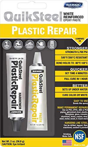 Blue Magic 17502TRI QuickSteel White Plastic Epoxy Weld - 2 oz. Blister Pack