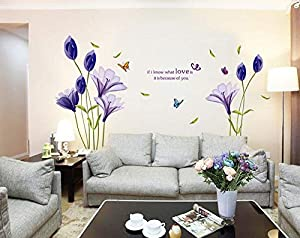 Purple Tulips Flowers Fashion Wall Stickers For Living Room Diy 3d Home Decoration