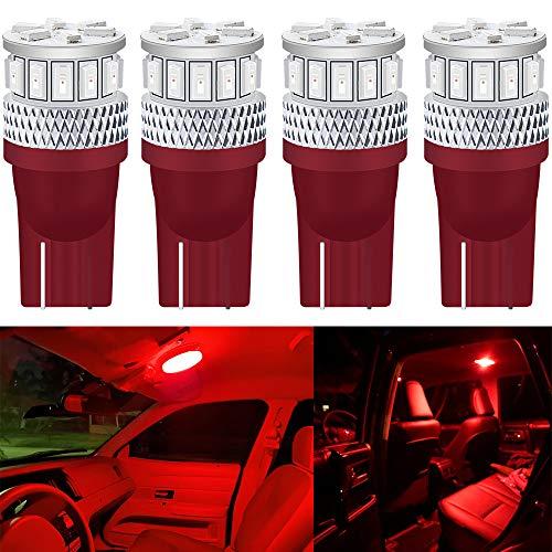 DEFVNSY - Lot de 4 ampoules LED 7ème génération T10 194 168 501 2825 7ème génération – puces 3014 et 3030 15 SMD pour feux de plaque d'immatriculation, carte, plafonnier, lampes de 12V-24V