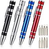 4 Pieces Pen Screwdriver Handy Tool 8 in 1 Magnetic Pocket Screwdriver Multi-Function Mini Gadgets Repair Tools (Black, Red, Blue, Silver)