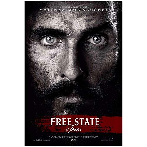 Free State of Jones Movie Art poster para sala de estar Decoración para el hogar Regalo Obra de arte Decoración Imprimir en lienzo -50x70cm Sin marco