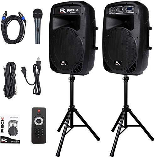 Proreck Dance 12 Portable 12-Inch 1000 Watts 2-Way Powered PA Speaker System Combo Set with Bluetooth/USB/SD Card Reader/FM Radio/Remote Control/Speaker Stand