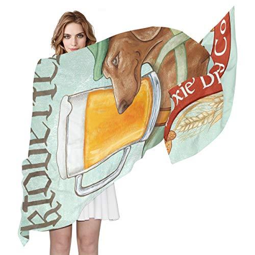 Womens bier honden bruin koffie sjaal zuiver zijdeachtig gevoel lange sjaals lichtgewicht wrap sjaal