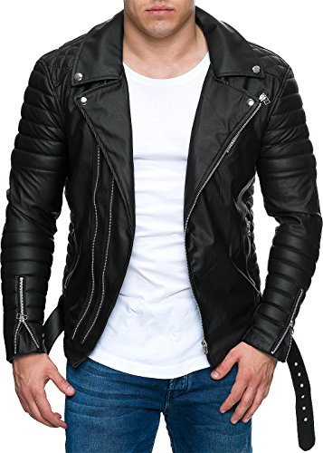 Reichstadt Veste de motard pour homme avec ceinture amovible en cuir véritable ou cuir synthétique - Noir - Large