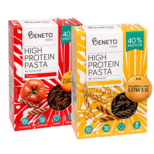 Beneto's High Protein Pasta | Insektenpasta aus Grillenmehl | 2er Probierpaket | 40% Protein | Natur & Tomate| 2x 200g