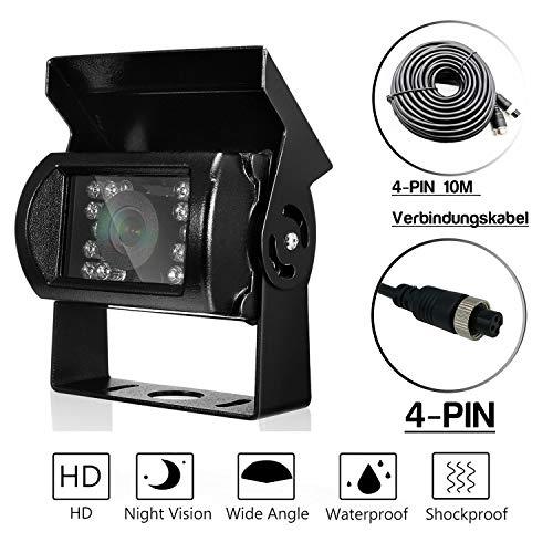 Nachtsicht Universal Rückfahrkamera, DAFROH 120 Sichtwinkel | 9-36V | Farbbilder in der Nacht | IP67 Wasserdicht Kamera | HD Farb Rückfahrkamera für Auto LKW Bus Usw