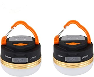 Finnart 2019最新版 LEDランタン 懐中電灯 携帯型 テントライト 3つ調光モード 超軽量 携帯便利 防水キャンプ用品 登山 夜釣り 防災対策 高輝度 キャンプランタン (2個セット)