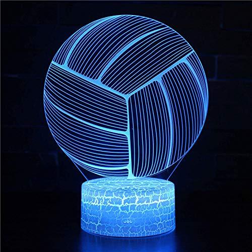 Lámpara de ilusión 3D de voleibol, 16 luces cambiantes de color con acrílico plano y base ABS y cargador USB como decoración del hogar y un mejor regalo