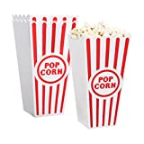 [Novelty Place] Plastic Red & White Striped Classic Popcorn Containers for Movie Night - 4' Square x 8' Deep (4 Pack)