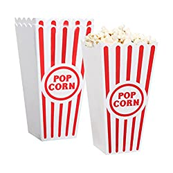 RETRO STYLE – Feeling nostalgic? Want a retro movie party? These retro popcorn boxes will send you back in time to have some old-school fun! ENVIRONMENT FRIENDLY – Be green and stop using disposable products. These containers are made of durable plas...