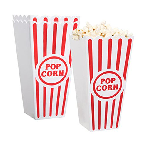 Novelty Place] Recipientes Plásticos para Palomitas de Maíz Clásico con Rayas Rojas y Blancas para Noches de Cine - 20 centímetros de Alto x 9,6 cm Cuadrado (Paquete de 4)