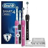 Braun Oral-B Smart 4 - 4900 - Brosse à Dents Électrique Rechargeable, Manches Connectés Rose et Noir avec Bluetooth, 2Brossettes