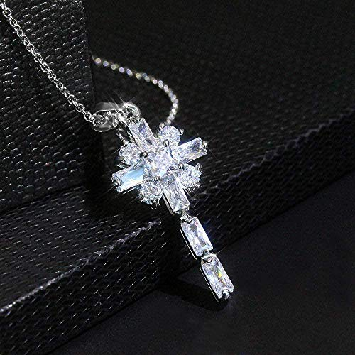 NC110 Necklace Silver Holy Cross Crystal Pendant Stylish Diamond-Encrusted Cubic Zircon Collarbone Chain Gorgerous Charms Jewellery Gifts