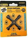Herran Llave multifunción para contador de gas, agua, eléctrica, cabinet. Llave en cruz de 4 maneras, color negro