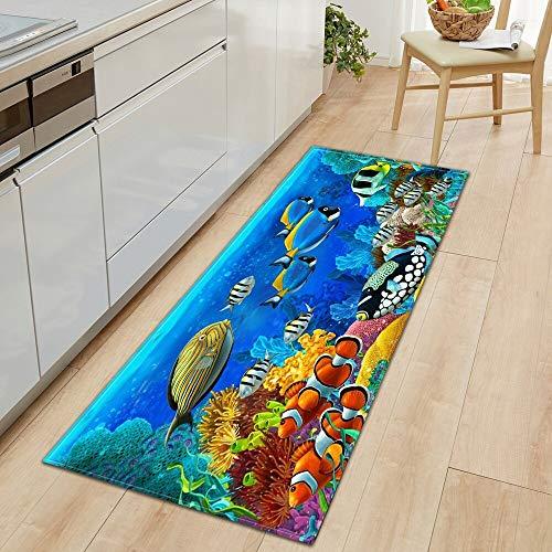 Ocean World - Alfombra de cocina para puerta de entrada, dormitorio, hogar, antideslizante, A12, 50 x 80 cm