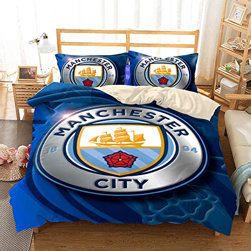 JinWensm Duvet Cover King size 220x240 cm, Manchester City F.C Bedding Sets 3 PCS with Zipper Closure, 1 Quilt Cover With 2 Pillowcases 50x75 cm Football team