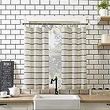 Clean Window Twill Stripe Allergy/Pet Friendly Anti-Dust Sheer Curtain Panel, 52' x 36' Kitchen Tier Pair, Black/Linen