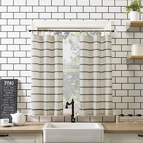 "Clean Window Twill Stripe Allergy/Pet Friendly Anti-Dust Sheer Curtain Panel, 52"" x 36"" Kitchen Tier Pair, Black/Linen"