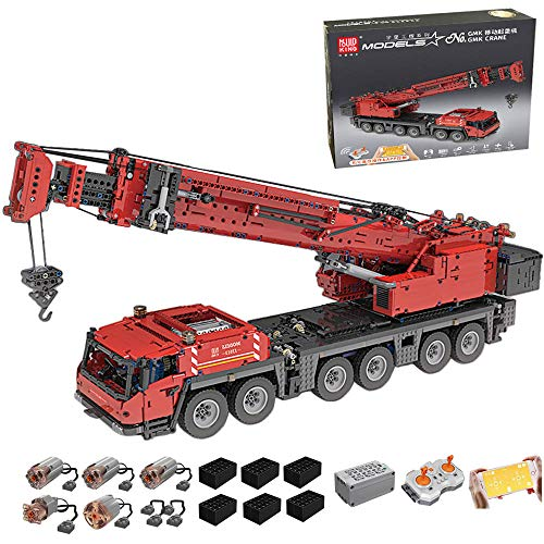 RcBrick Technik Kran, 4885 Teile Technik Schwerlastkran Technic Ferngesteuert Kranwagen mit 5 Motor und Fernbedienung Bauset Kompatibel mit Lego Technik