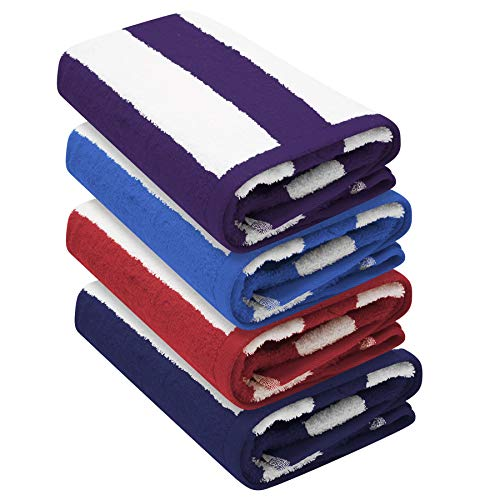 Cabana Stripe Beach Towel - Pack of 4 (76 x 152 cm) - 100% Ringspun Cotton, Heavy Weight (450 GSM) & Highly Absorbent (Navy, Red, Purple & Blue Colour Pack)