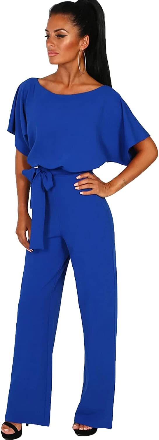 Womens Casual Short Save money Sleeve Belted Long Pants Keyho Jumpsuit Back Max 45% OFF
